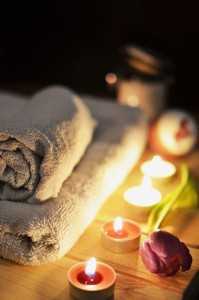 Relaxation Massage Candles Towels